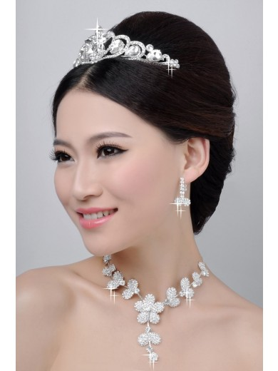 Beautiful Alloy Clear Crystals Flower Wedding Headpieces Necklaces Earrings Set