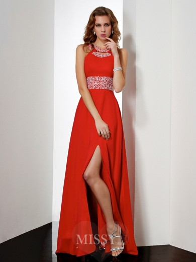 Empire Jewel Sleeveless Floor-length Acrylic Jewels Dress