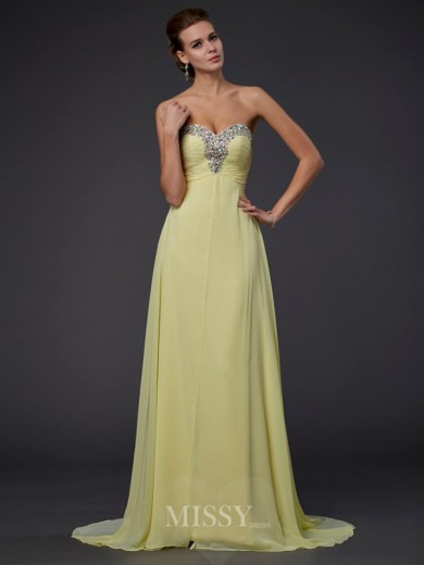 A-Line Sweetheart Sleeveless Beading Floor-length Chiffon Dress