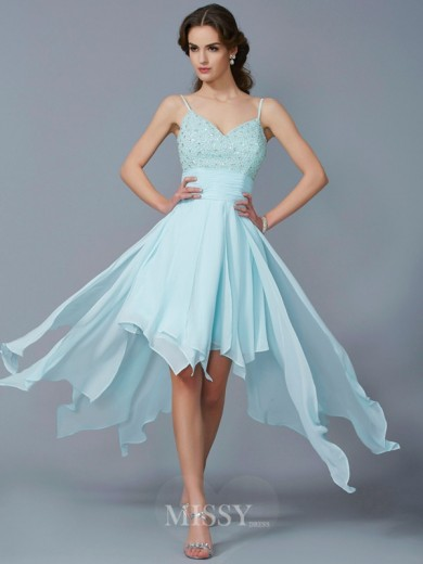 A-Line Spaghetti Straps Sleeveless Chiffon Beading Asymmetrical Dress