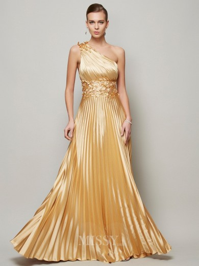A-Line Hand-Made Flower One-Shoulder Floor-Length Elastic Woven Satin Dress
