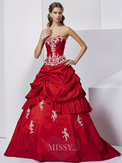 Ball Gown Sweetheart Sleeveless Applique Floor-Length Beading Taffeta Dress