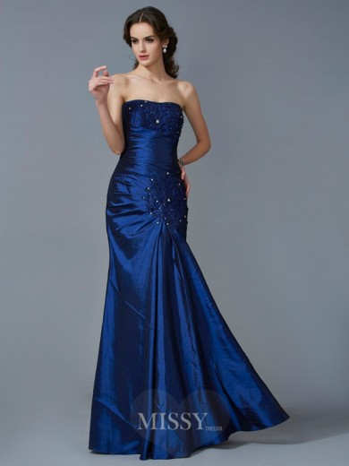 Mermaid Strapless Sleeveless Applique Taffeta Floor-Length Dress