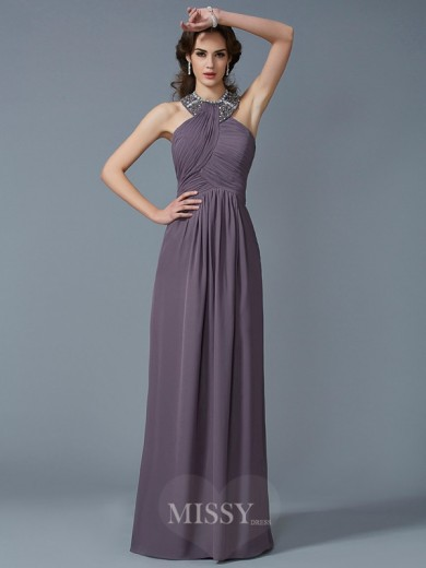 Sheath High Neck Sleeveless Beading Chiffon Floor-Length Dress