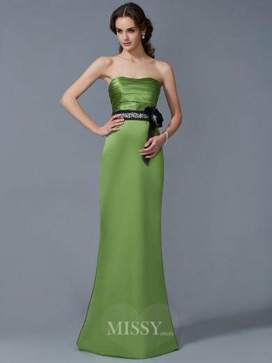 Sheath Strapless Sleeveless Sash/Ribbon/Belt Satin Floor-Length Dress