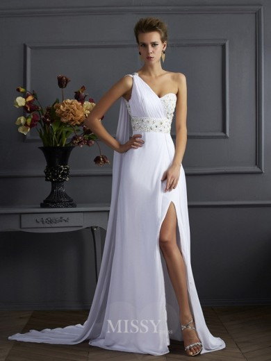 Sheath One-Shoulder Sleeveless Chiffon Beading Sweep/Brush Train Dress