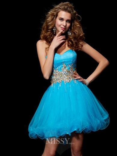 A-Line Sweetheart Sleeveless Beading Mini Net Dress