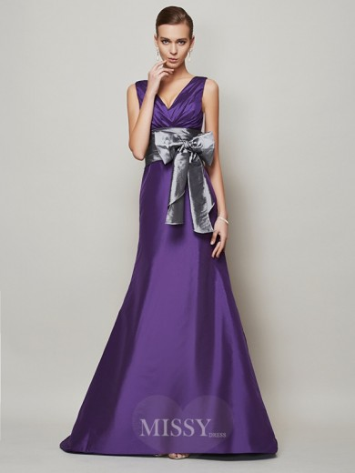 A-Line Sleeveless Taffeta V-neck Floor-Length Dress
