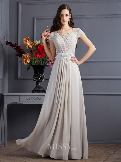 A-Line Sweetheart Short Sleeves Beading Chiffon Floor-Length Applique Dress