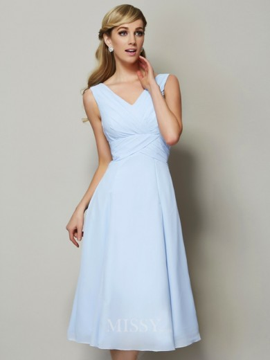 A-Line V-neck Sleeveless Pleats Tea-Length Chiffon Bridesmaid Dress