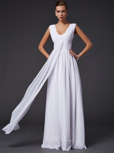 A-Line Jewel Floor-length Pleats Sleeveless Chiffon Dress