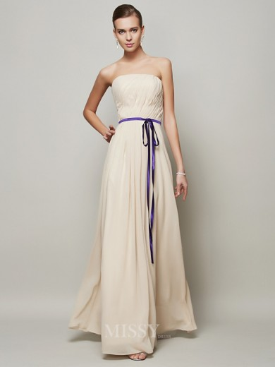 A-Line Strapless Sash/Ribbon/Belt Pleats Floor-Length Chiffon Dress
