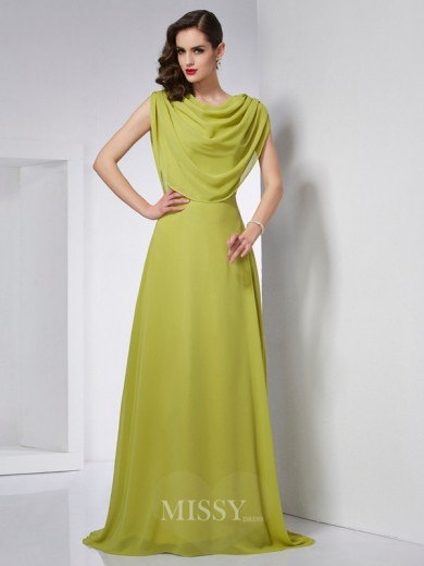 A-Line High Neck Sleeveless Pleats Sweep/Brush Train Chiffon Dress
