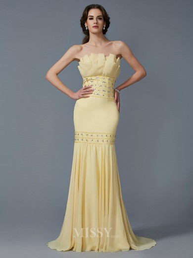 Mermaid Strapless Sleeveless Beading Sweep/Brush Train Chiffon Dress