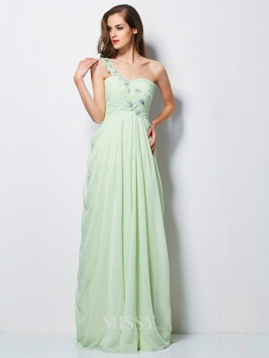 A-Line One-Shoulder Sleeveless Applique Floor-Length Chiffon Dress