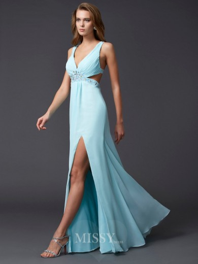 Sheath V-neck Sleeveless Beading Floor-length Chiffon Dress
