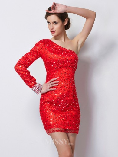 Sheath One-Shoulder Long Sleeves Beading Elastic Woven Satin Mini Dress