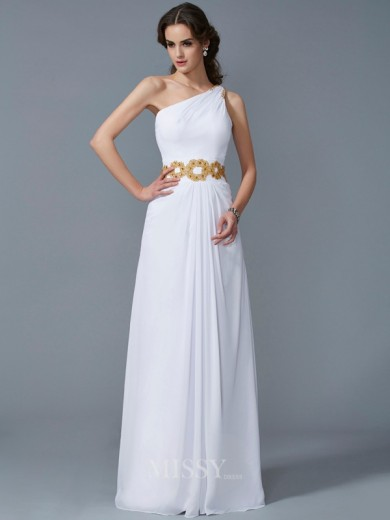 Sheath One-Shoulder Sleeveless Beading Chiffon Floor-Length Dress