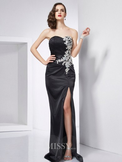 Mermaid Sweetheart Sleeveless Beading Sweep/Brush Train Elastic Woven Satin Dress