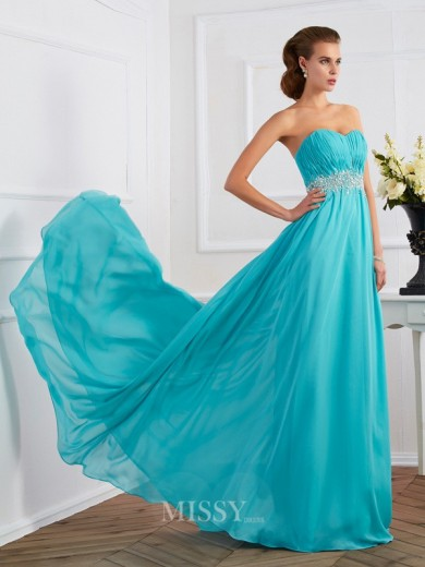 Beading A-Line Sleeveless Sweetheart Sweep/Brush Train Dress