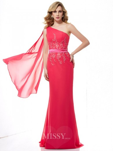 Sheath Sleeveless Applique One-Shoulder Beading Chiffon Sweep/Brush Train Dress