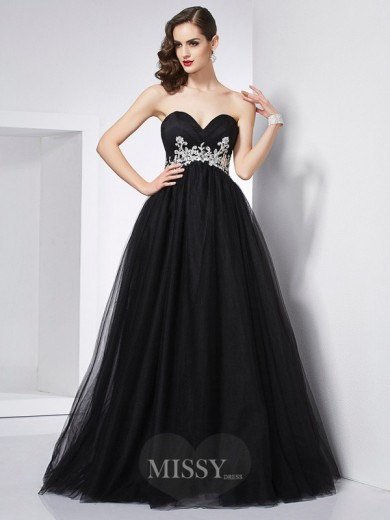 Ball Gown Sweetheart Sleeveless Applique Net Floor-Length Dress