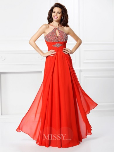 A-Line/Princess Sleeveless Beading Floor-Length Chiffon Dress