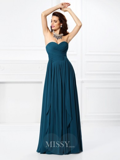A-Line/Princess Sleeveless Sweetheart Pleats Ruffles Floor-Length Chiffon Dress