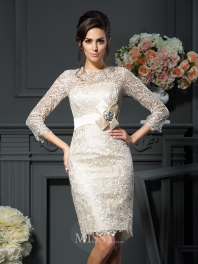 Sheath/Column Scoop Bowknot 3/4 Sleeves Short/Mini Lace Mother of the Bride Dress