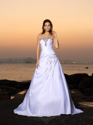 A-Line/Princess Strapless Beading Satin Sleeveless Chapel Train Wedding Dresses