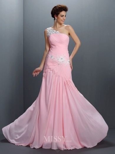 A-Line/Princess Sleeveless One-Shoulder Beading Applique Floor-Length Chiffon Dress
