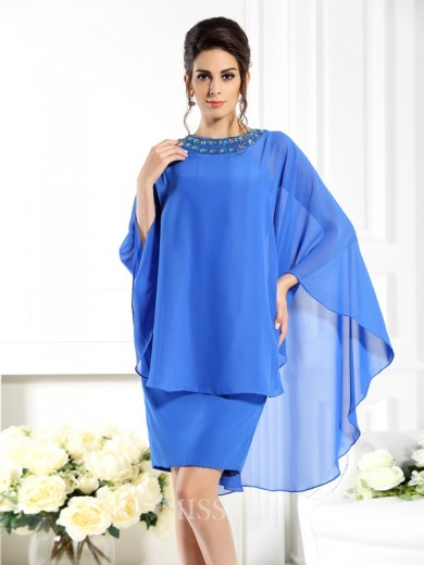 Sheath/Column Bateau 3/4 Sleeves Knee-Length Chiffon Mother of the Bride Dress