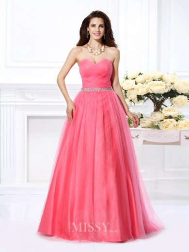 Ball Gown Sleeveless Sweetheart Pleats Beading Floor-Length Satin Dresses
