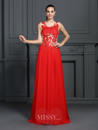A-Line/Princess Bateau Sleeveless Applique Sweep/Brush Train Chiffon Dress