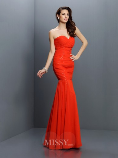 Trumpet/Mermaid Sleeveless Sweetheart Pleats Floor-Length Chiffon Bridesmaid Dresses