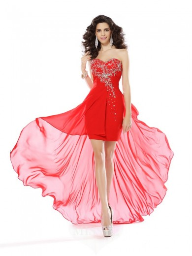 Sheath/Column Sweetheart Beading Sleeveless Short/Mini Chiffon Dress