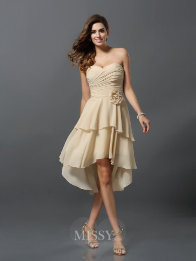 A-Line/Princess Sleeveless Sweetheart Chiffon Asymmetrical Hand-Made Flower Bridesmaid Dresses