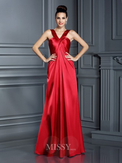 A-Line/Princess Straps Sleeveless Floor-Length Elastic Woven Satin Dresses