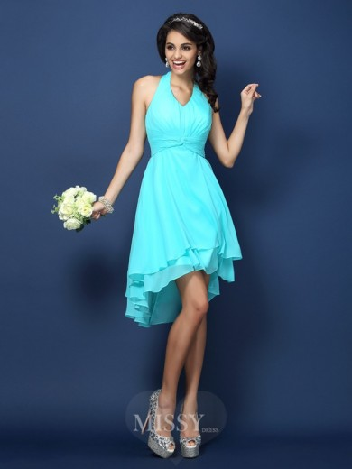 A-Line/Princess Halter Sleeveless Pleats Short/Mini Chiffon Bridesmaid Dresses