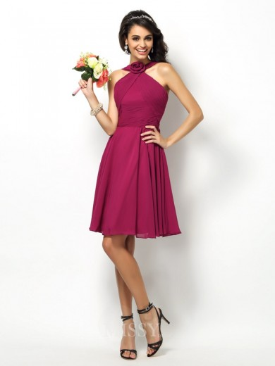 A-Line/Princess Sleeveless High Neck Pleats Short/Mini Chiffon Bridesmaid Dresses