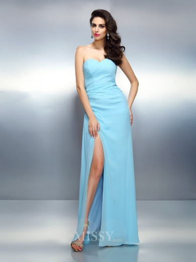 A-Line/Princess Sleeveless Sweetheart Pleats Floor-Length Chiffon Dress