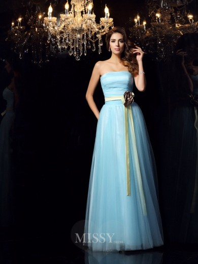 Ball Gown Sleeveless Strapless Satin Floor-Length Sash/Ribbon/Belt Dresses