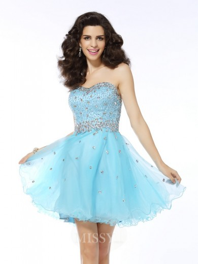 A-Line/Princess Sleeveless Sweetheart Ruffles Short/Mini Organza Dresses