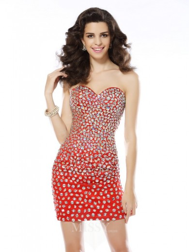 Sheath/Column Sweetheart Rhinestone Sleeveless Short/Mini Chiffon Dress