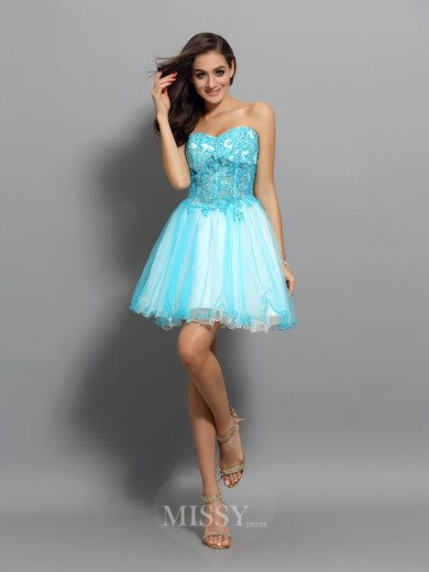 A-Line/Princess Sleeveless Satin Sweetheart Short/Mini Applique Beading Dresses