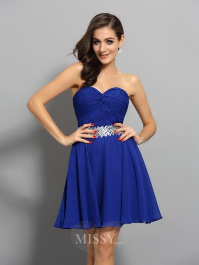 A-Line/Princess Chiffon Sleeveless Short/Mini Sweetheart Beading Dresses