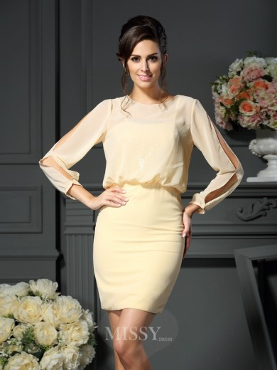 Sheath/Column Long Sleeves Scoop Short/Mini Chiffon Mother of the Bride Dress