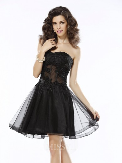 A-Line/Princess Sleeveless Sweetheart Short/Mini Satin Applique Dresses