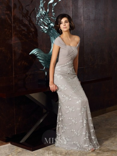 A-Line/Princess Sleeveless Off-the-Shoulder Chiffon Floor-Length Applique Dresses