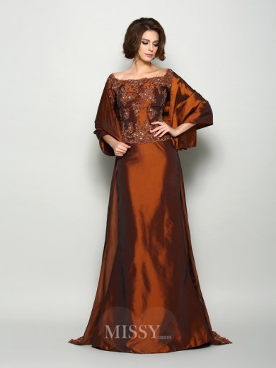 A-Line/Princess 1/2 Sleeves Off-the-Shoulder Taffeta Beading Sweep/Brush Train Mother of the Bride Dress
